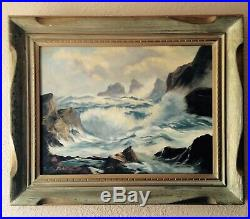Vintage 1961 Seascape Painting Signed Dated Framed California Artist 32x26x4