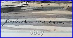 Vintage 1962 Mid-Century Original John Gerachis Watercolor P St Washington DC