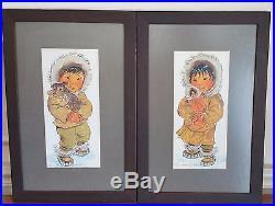 Vintage 1969 Joan Arend Kickbush Pair of Watercolor Signed Eskimo Children