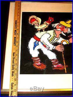 Vintage 1969 Signed Original Painting JOVAN OBICAN Yugoslavian Rooster Chicken
