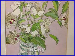 Vintage 1969 Vi Koenig Poth Signed Ink & Watercolor Modern Still Life Painting