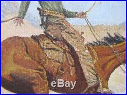 Vintage 1970's Western Cowboy, Horse, Oil Landscape Painting, Signed