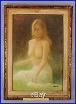 Vintage 1970s Artist Signed Sensual Nude Blonde Woman Portrait Oil Painting