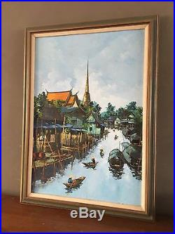 Vintage 1972 Bangkok Thailand Signed Oil Painting Fishing Village River Boats
