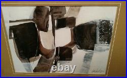 Vintage 1972 Modernist abstract painting by artist Carlos Lopez