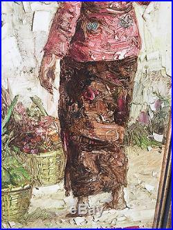 Vintage 1974 Signed Oil on Canvas Painting of 2 Figures Asian Farmer