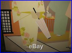 Vintage 1978 Lubi Brugnoni Florida School Geometric Modern Geisha Oil Painting