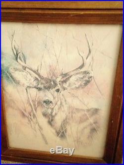 Vintage 1978 signed K Maroon deer sketch