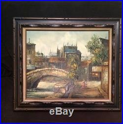 Vintage 19C Oil On Canvas Painting Signed C. Salido Wooden Frame 27by32 Antique