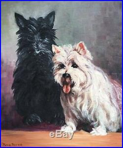 Vintage 20th Century Dog Painting Scottie & Yorkie Terrier signed Norma Peirce