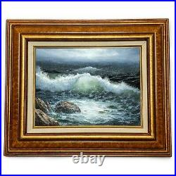Vintage 24 x 20 Framed Seascape Oil Painting on Canvas Artist Signed J. Walker