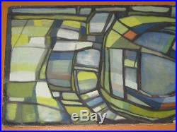 Vintage 50`s -60`s Modernist Abstract Oil Painting Mid Century Era Signed
