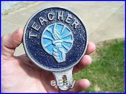 Vintage 50s nos School TEACHER auto license plate topper kit gm car old chevy