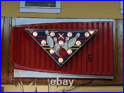 Vintage 60's AMF Magic Triangle BOWLING ALLEY Lighted Pin NEON Painted Sign 66