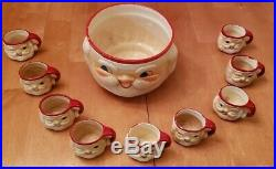 Vintage 60's Santa Claus Punch Bowl 9 Cups Hand painted. Signed Japan H H