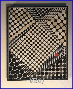 Vintage 60s Abstract Shapes Geometric Oil Painting Mid Century Modern Art