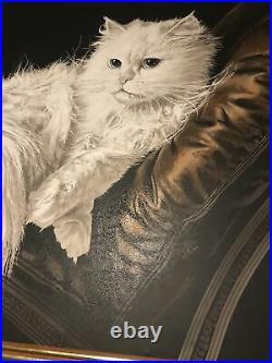 Vintage 70's 80'S MCM Letterman Painting White Persian Cat