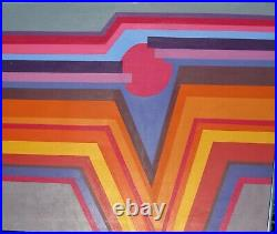 Vintage 70s Geometric MID Century Modern Modernist Abstract Painting Landscape