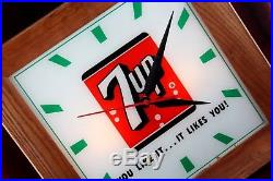Vintage 7up Soda Lighted Clock Sign General Store Advertising Reverse Paint
