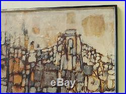 Vintage ABSTRACT EXPRESSIONIST NEW YORK OIL PAINTING MID CENTURY MODERN Signed