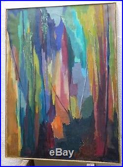 Vintage ABSTRACT EXPRESSIONIST OIL PAINTING MID CENTURY MODERN Signed 1957
