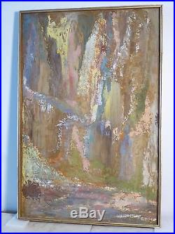 Vintage ABSTRACT EXPRESSIONIST OIL PAINTING MID CENTURY MODERN Signed 1970