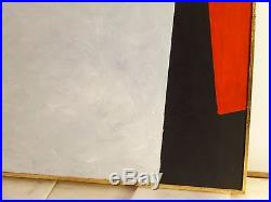 Vintage ABSTRACT GEOMETRIC BAUHAUS OIL PAINTING MID CENTURY MODERN Signed 1968