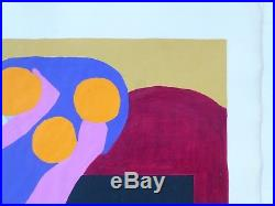 Vintage ABSTRACT GEOMETRIC MODERNIST PAINTING MID CENTURY MODERN Signed 1960s