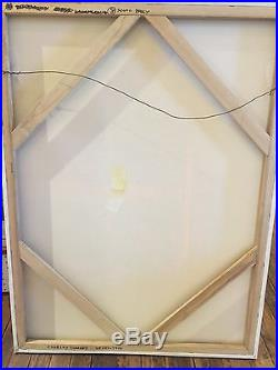 Vintage ABSTRACT GEOMETRIC MODERN OIL PAINTING MID CENTURY NY Signed 1970s
