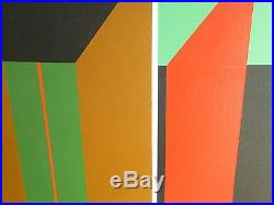 Vintage ABSTRACT GEOMETRIC OP ART OIL PAINTING MID CENTURY MODERN Signed