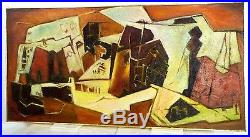 Vintage ABSTRACT MODERNIST BRUTALIST OIL PAINTING ARCHITONIC MID CENTURY Signed