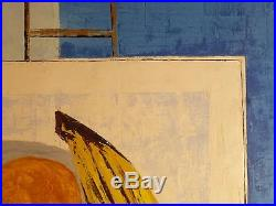 Vintage ABSTRACT MODERNIST OIL PAINTING Classic Mid Century Modern Signed 1960s