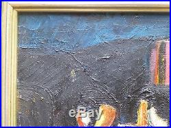Vintage ABSTRACT MODERNIST OIL PAINTING MID CENTURY MODERN Signed 1957