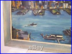 Vintage ABSTRACT NEW YORK SKYLINE OIL PAINTING MID CENTURY MODERN Signed 1958