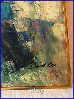 Vintage ABSTRACT hand painted original PAINTING gold blue green signed David Lee