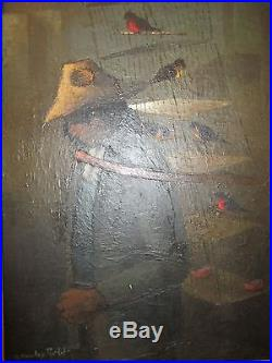 Vintage A. Morales R. Mexican Artist Original Signed O/C Painting Man with Birds