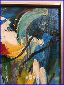 Vintage Abstract Oil Painting Signed Framed