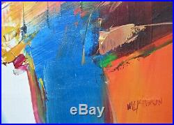 Vintage Abstract Oil Painting, Signed Wilkinson