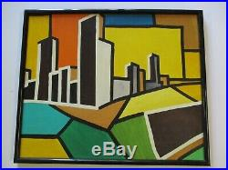Vintage Abstract Painting Urban Industrial City Modernism Expressionism Signed
