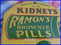 Vintage Advertising Painted Ramons Kidney Pills Sign/ Thermometer