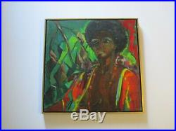 Vintage African American Nude Painting Portrait By Hazel Impressionist Modernism