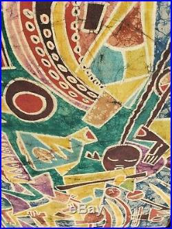 Vintage African American Painting On Canvas Signed BERNARD MENSAH 30