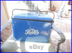 Vintage Airline Pepsi Cola Blue Metal Cooler With Ice Chest-1950's-Original Paint