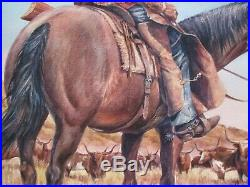 Vintage American Cowboy Painting By Tyree Original Western Ranch Farm Cattle