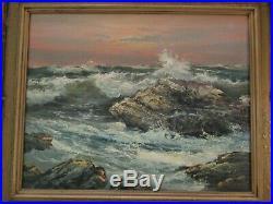 Vintage American Impressionist Painting Beach Waves Landscape Coastal Surf