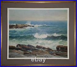 Vintage American Impressionist Pemaquid Maine Coast Ocean Fine Art Oil Painting