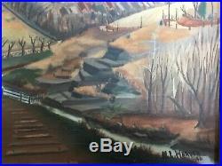 Vintage American Landscape Oil Painting Mid West. Missouri, Iowa WPA era, signed
