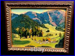 Vintage American Landscape Painting, Acrylic On Board, Signed By Artist