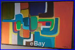 Vintage American Modern Abstract Oil Painting Chris Triola Michigan Designer 67