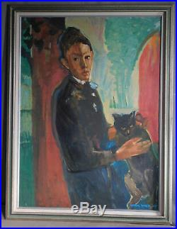 Vintage American Modern Painting Portrait Young Man Boy Black Cat Carol Wald